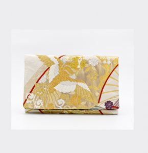 Beige Phoenix Vintage Obi Silk Clutch