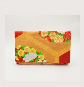 Orange Kiku Vintage Obi Silk Clutch