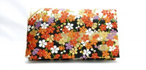 Black White Ume Pine Vintage Obi Silk Clutch (b)