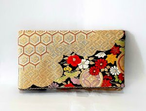 Black Gold Kiku Obi Silk Clutch