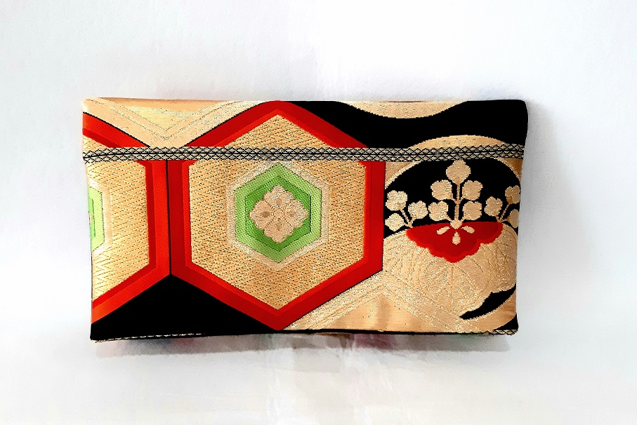 Black Hexagon Vintage Obi Silk Clutch