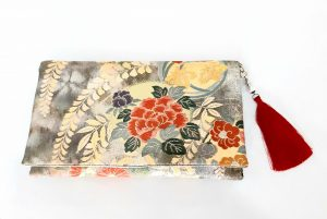 GEM Collection Peonies Vintage Obi Silk Clutch